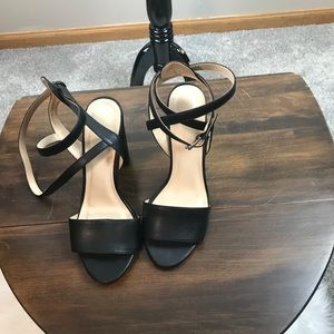 Black Chunky Heel Strappy Shoes Sandals